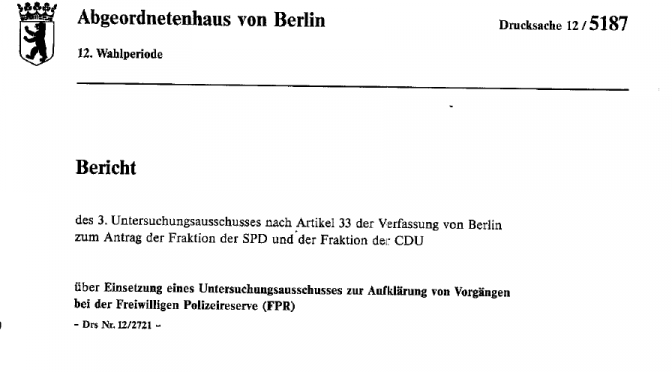 """Der """"Untersuchungsausschuß zur Aufklärung von Vorgängen bei der Freiwilligen Polizeireserve"""" – Versuch einer Bilanz"""